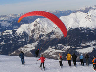 Skiing in Arosa, Switzerland - Paraglider